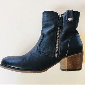 Black faux leather zipper ankle boots